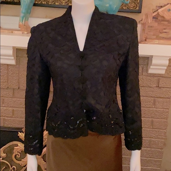 Christian Dior black lace and sequin jacket